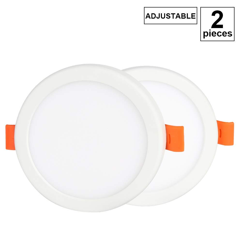 """4 Inch LED Downlight, 6W Adjustable Cut Hole Diameter 2""""-3"""", Round Ultra-Thin Retrofit LED Recessed Fixture, 3000K(Warm White) Slim LED Ceiling Lights Flat LED Panel Light Lamp with LED Driver,2 Pack"""