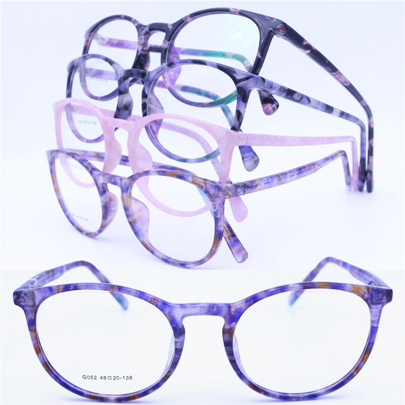 Injection acetate prescription glasses frame with tie die color fashional eyeglasses