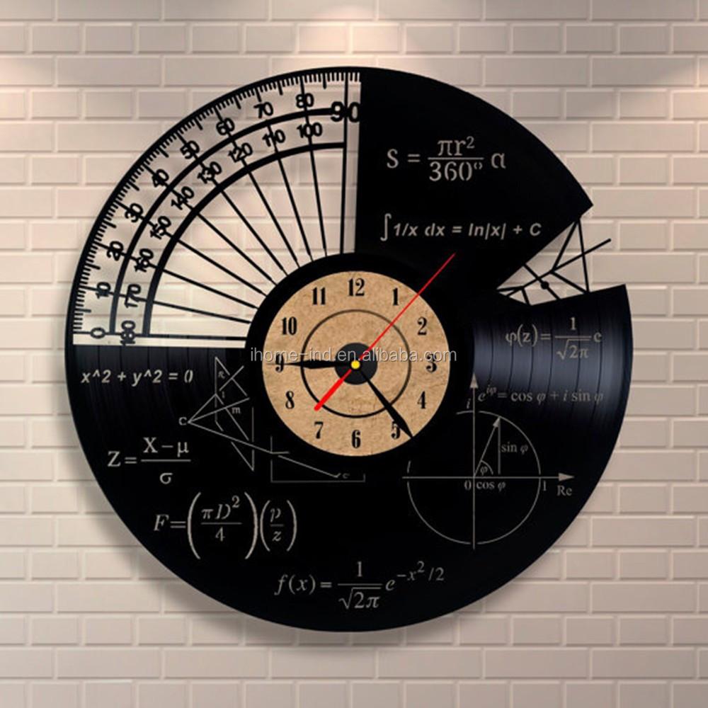 691a2df7b293 Reloj de pared de registro de vinilo 3D sin marco CD diseño matemáticas  reloj para casa