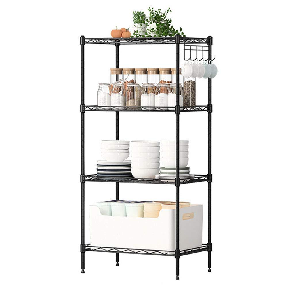 FEOOWV 4-Layer Metal Shelf Kitchen Shelf Storage Organizer Rack (Black)