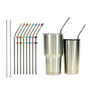 Factory Direct Sale Reusable 18/8 Stainless Steel Metal Straws For  Drinking,With 2 Brushes - Buy Factory Direct Sale Stainless Steel Straws  For