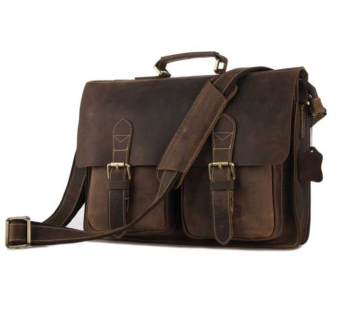30fe76d7f23 Get Quotations · Maxdo High Quality Vintage Brown Genuine Leather Crazy  Horse Leather Briefcase 14   Laptop Bag