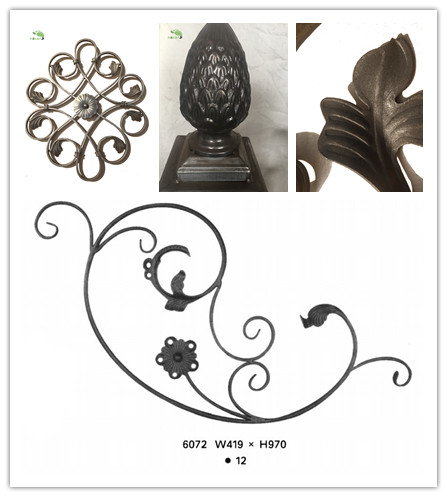 China factory supply wrought iron rails and rosettes for fencing gates and stairs in cheaper prices