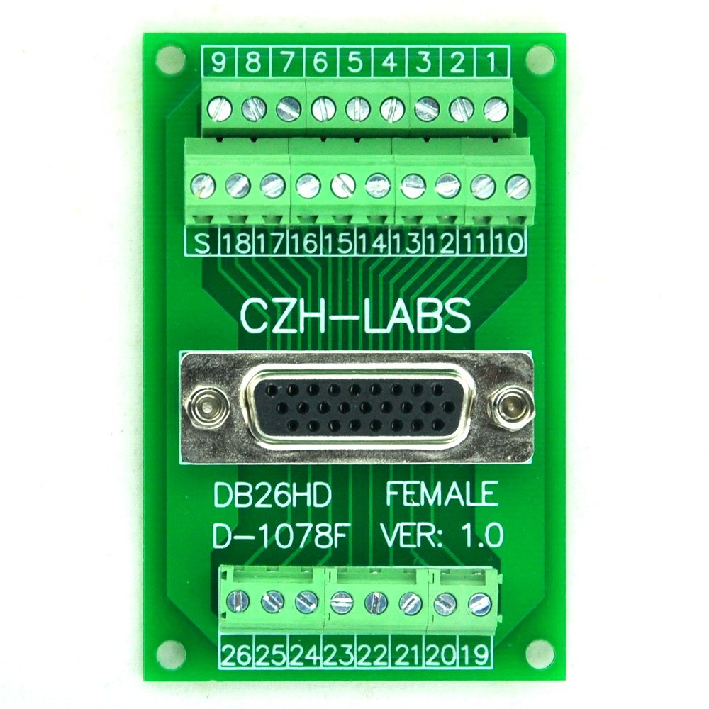 Electronics-Salon D-SUB DB26HD Female Header Breakout Board, Terminal Block, DSUB DB26 Connector.