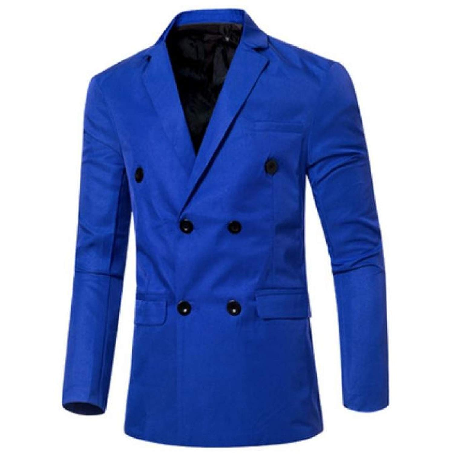RDHOPE-Men Fall Winter Notch Lapel Patch Suit Double-Breasted Jacket Blazer