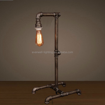 Vintage Rustic Water Pipe Table Lamp With Edison Bulb Light Bedside Spoon Led Modern
