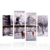 4 Pieces Cityscape Winter Scenery Acrylic Painting HD Canvas Photo Prints Snow Scenery Knife Painting Modern Giclee Prints