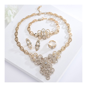 S10153 Guangzhou Manufacturer Female 4Pcs Brazilian Gold Jewelry Set For Bridal Wedding