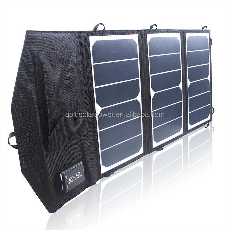 Light weight and compact USB 19.5W folding solar charger sunpower cell for Iphone Ipad Tablet etc