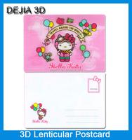 Cartoon design cheap price lenticular printing 3d postcard