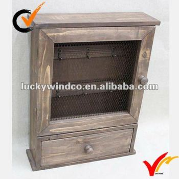 Wire Mesh Decor Cottage Shabby Chic Wall Mounted Wooden Key Cabinet