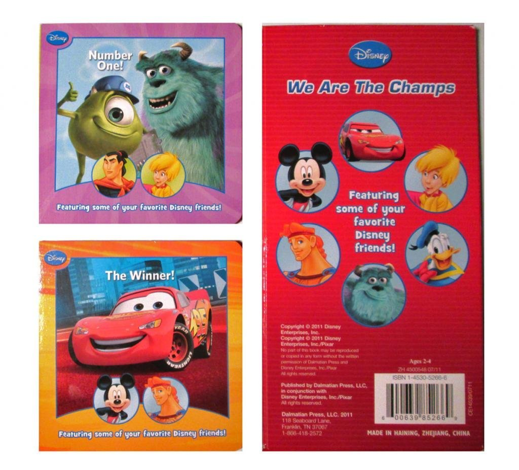 """Disney Pixar Cars - Mickey Mouse - Monsters Inc 2 Piece Set 10 Page Board Books 4"""" x 4"""""""