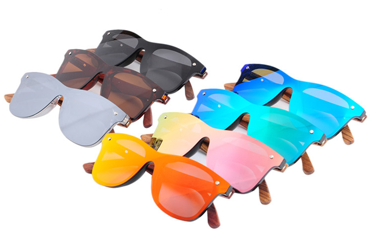 Unisex custom logo  eyewear oem fashionable  frameless wooden sunglasses 2019