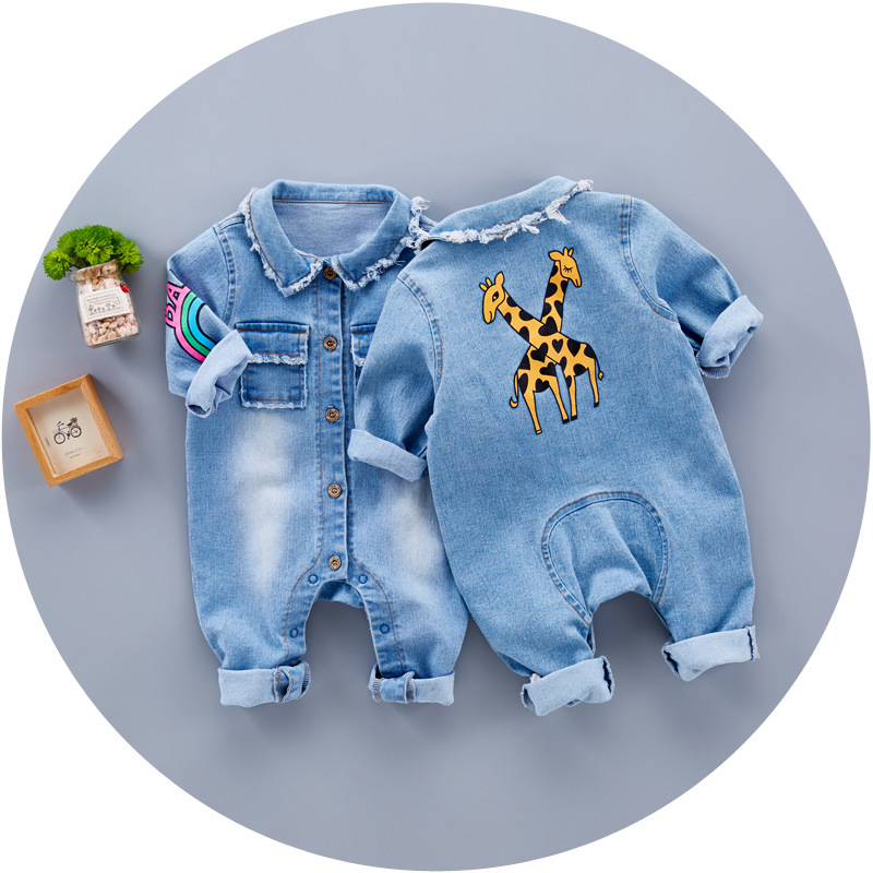 Bulk Buy Infant Clothes Baby Cute Long Sleeve Denim Blank Romper From China