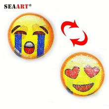 Cute Emoji Iron On Embroidery Two Way Reversible Sequin Patch Factory