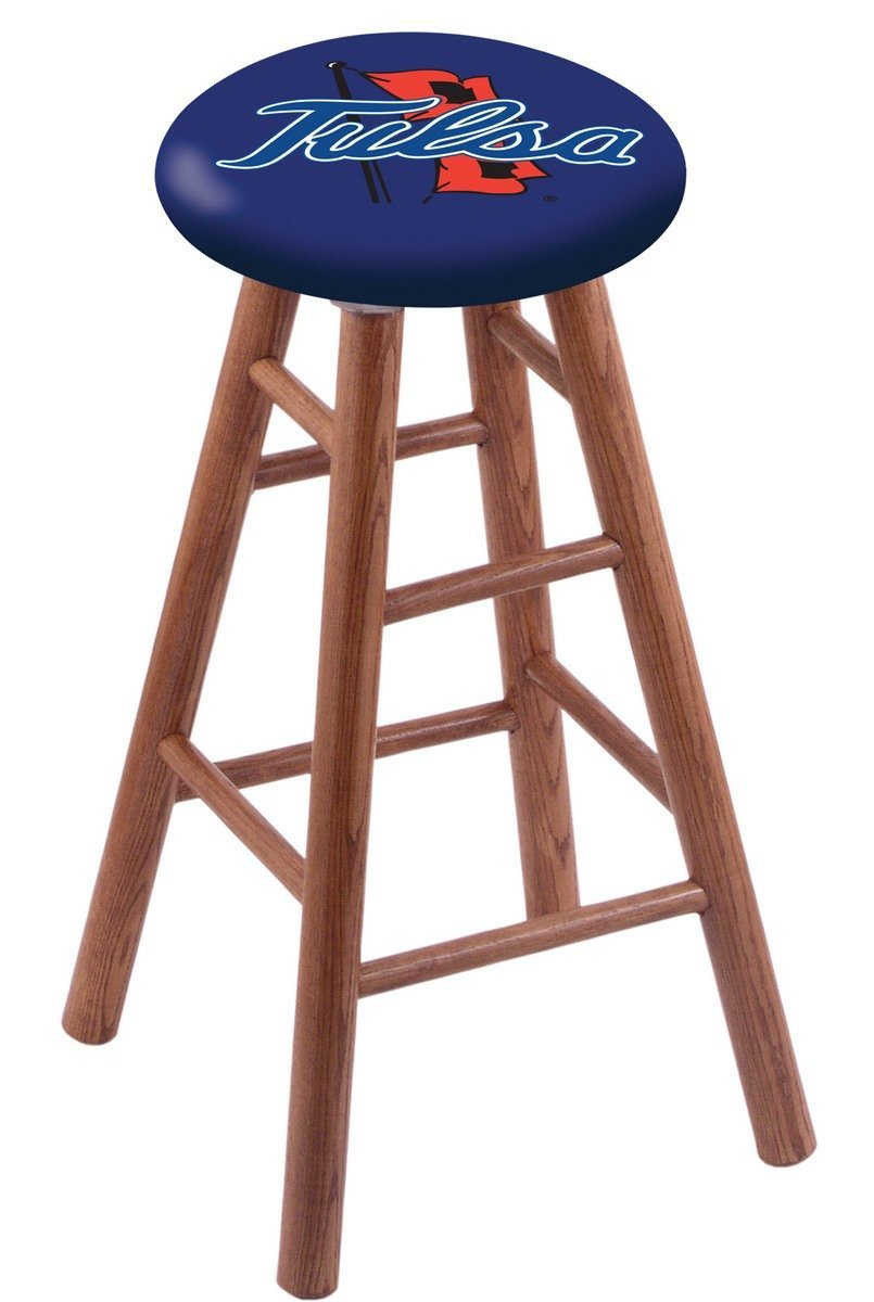 Oak Bar Stool in Medium Finish with TCU Seat by Holland Bar Stool Co.