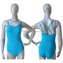 Wholesale Ballet Leotard Women and Girls Size Cotton/Lycra Color River Blue Camisole Double Straps Cross-Back Dancewear Bodysuit