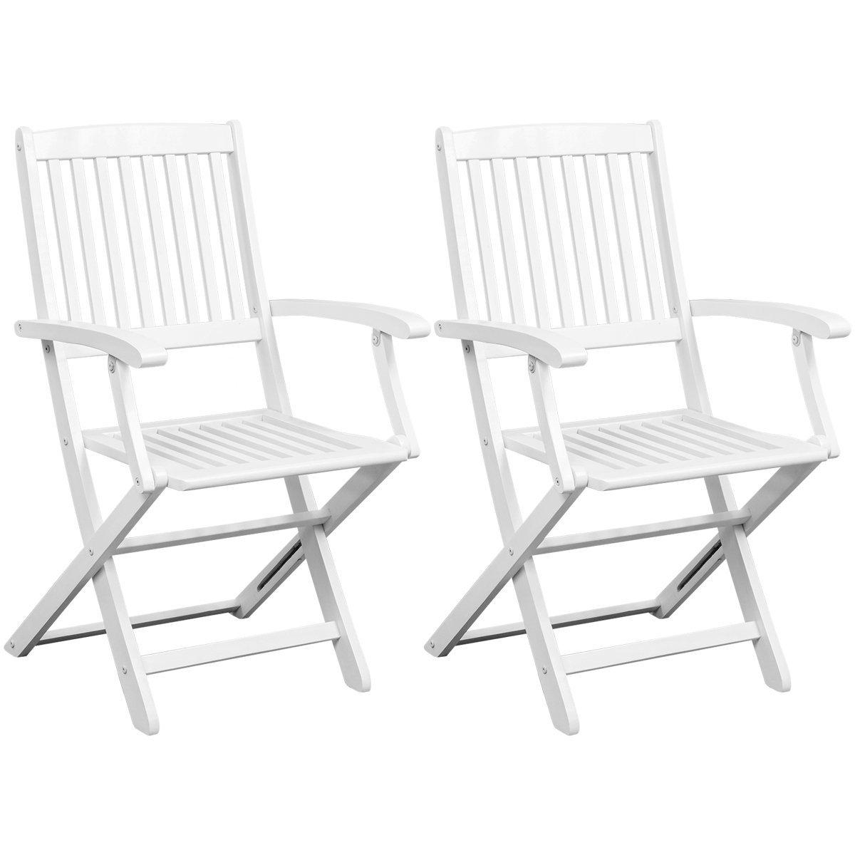 vidaXL Folding Dining Chairs 2 pcs White Acacia Wood