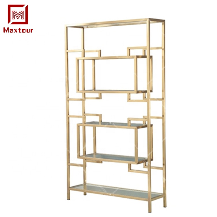 wedding decoration stainless steel frame gold wine rack shelf