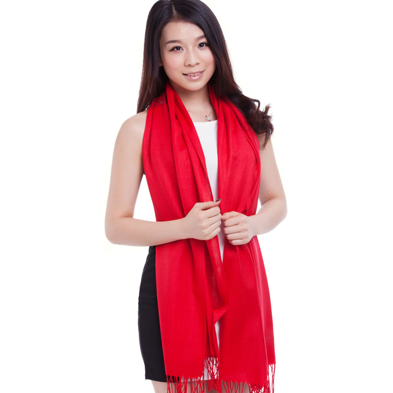 red dress Luzi autumn and winter female fashion solid color tassel thermal cape scarf cape dual-use ultra long