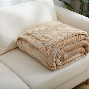 Polyester soft fleece flannel with borrego Blanket best price blanket in china