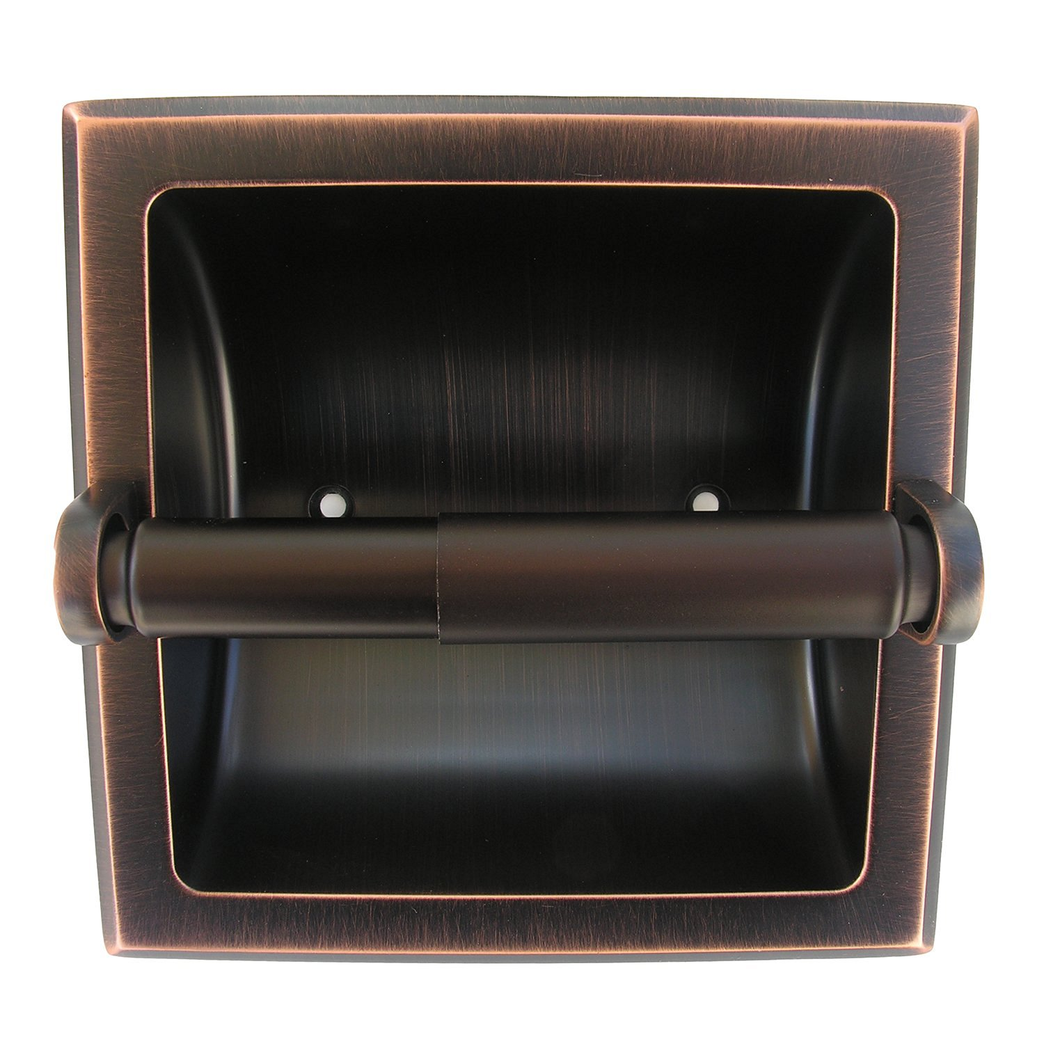 Oil Rubbed Bronze Taymor 01-ORB101SAL Residential Recessed Toilet Tissue Holder with Plated Bronze Aluminum Roller
