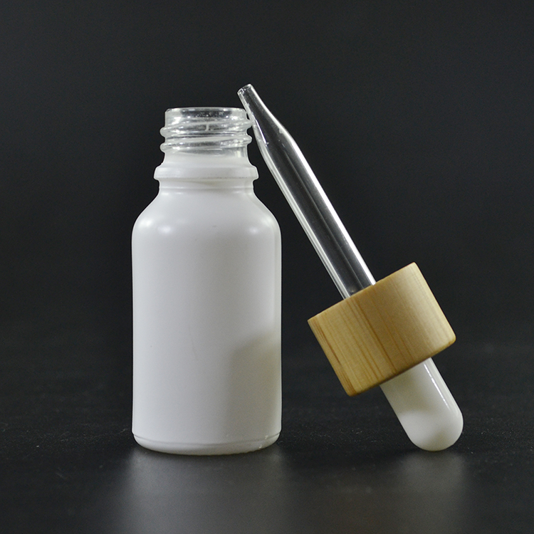 0.5oz 15ml empty matte white <strong>black</strong> red essential <strong>oil</strong> frosted glass dropper bottle with bamboo cap wholesales
