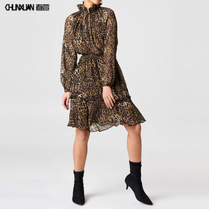 Latest Sexy Women Stand Collar Long Sleeve Fashion Leopard Printed Ruffle Chiffon Boho Dress Discount Sale