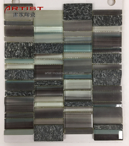 Black Color Long Strip Glossy Crystal Glass Mosaic Tiles