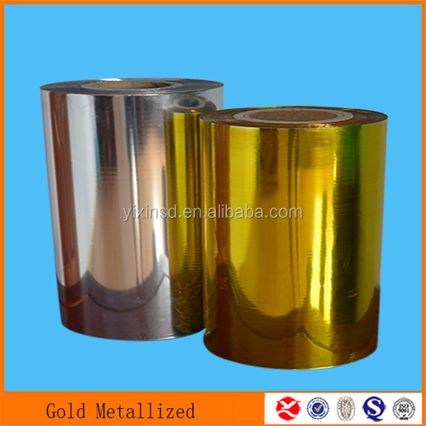 2015 Silver Gold Red Black Blue PET Metallized Lamination Film