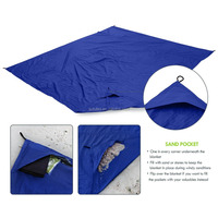 AOFU Beach Blanket Nylon Tote Pouch & 4 Stakes Pegs Also Used as Outdoor Camping Gear, Oversized Mat Shade Tarp and Picnic throw