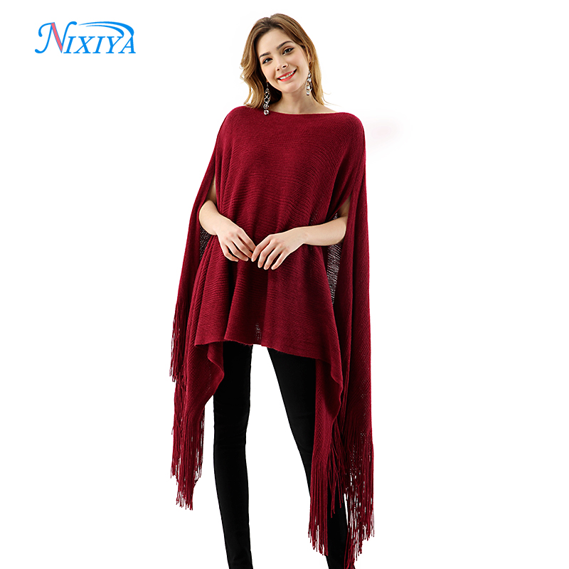 Imitation cashmere wool fabric front and rear split ladies shawl