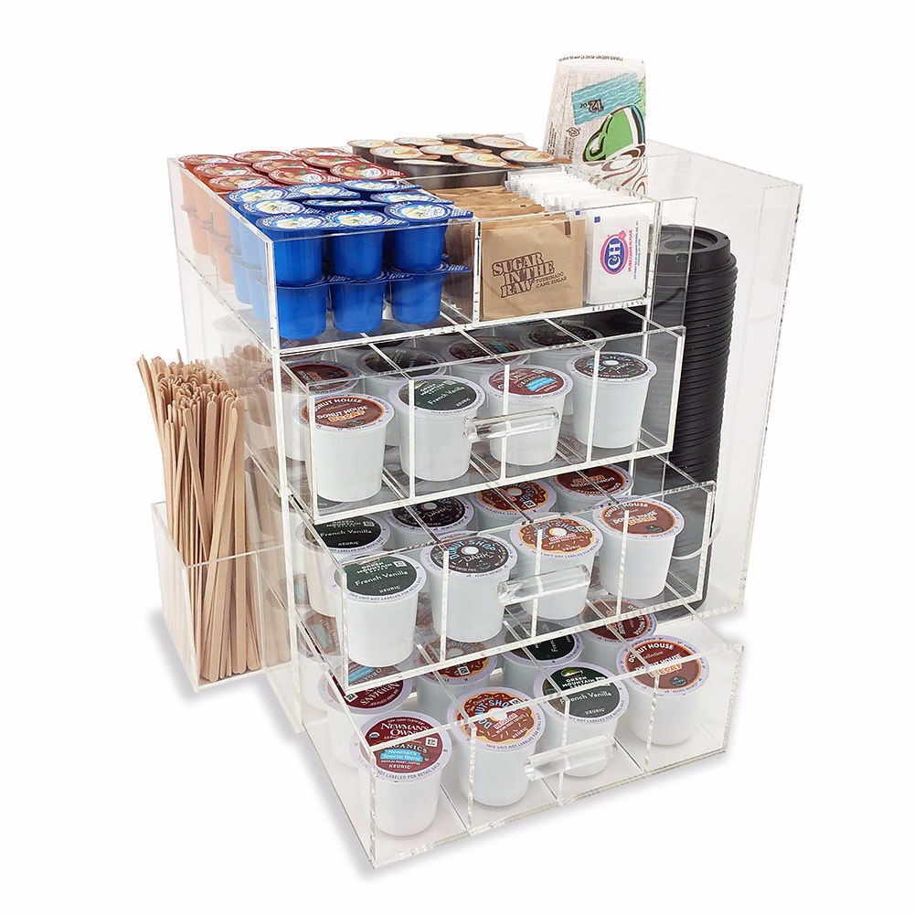 Clear acrylic paper coffee cup and lid organizer