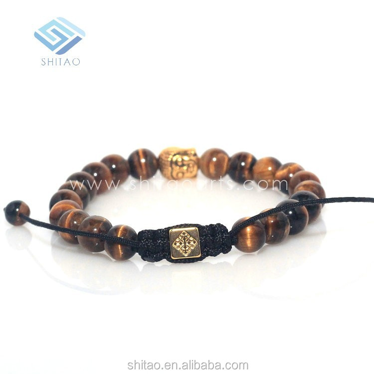 The Newest Design Tiger Eye Stone Round Beads Charm Bracelet,Braid Bracelet,Golden&Silvery Buddha