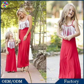 2017 Summer Fashion S Fringed Red White Dresses Chevron Kids Princess Wedding