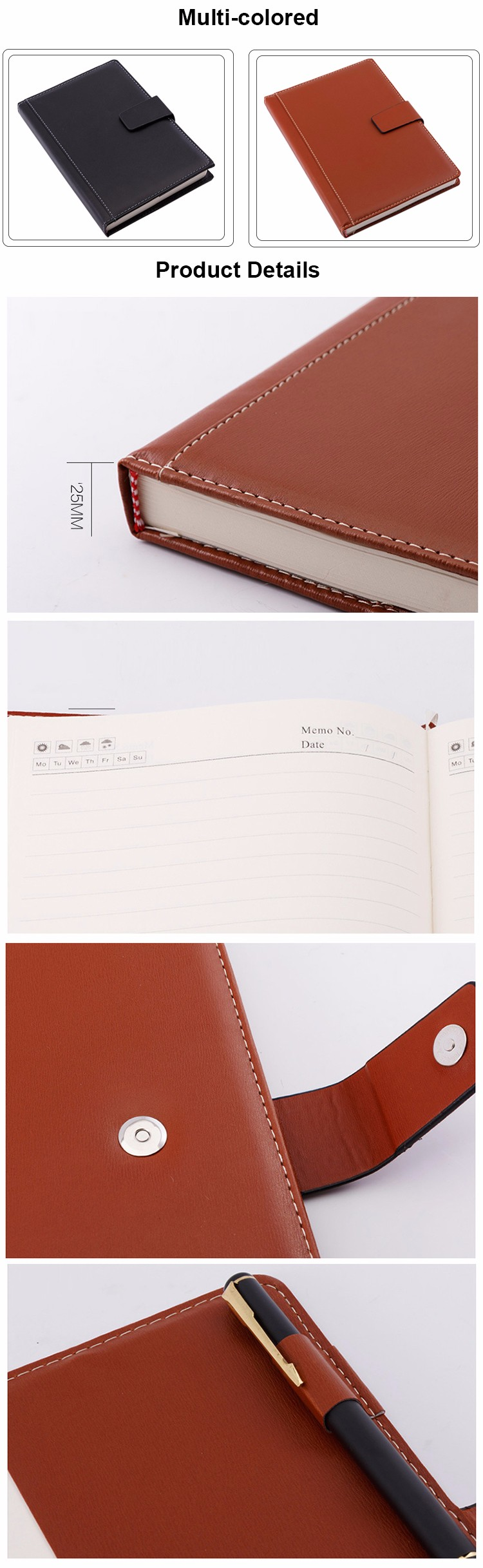 2019 new design note book PU material hardcover office paper notebook