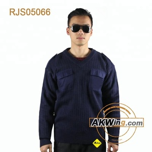 Military Industrial Navy Blue Wool V-Neck Tactical Commando Jumper Sweaters