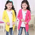 2016 spring children clothes baby long sleeved long style thin girls cardigan sweaters for kids girls