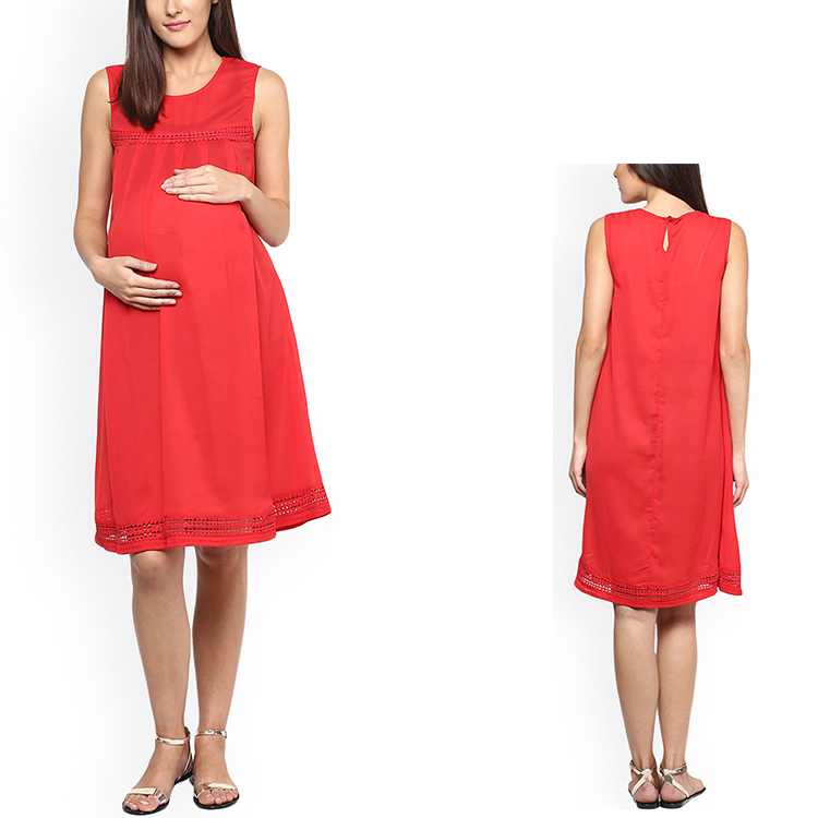Wholesales pregnant clothing long red maternity wrap maxi dress