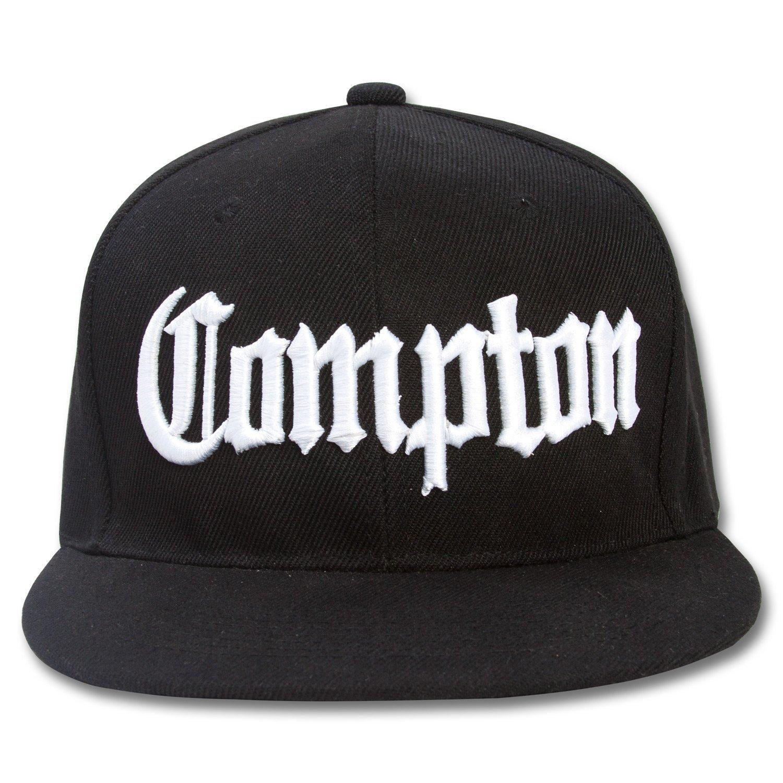 Get Quotations · Nothing Nowhere Compton Flat Bill Snapback Black  Adjustable Baseball Cap Hat 2d49e94b030f