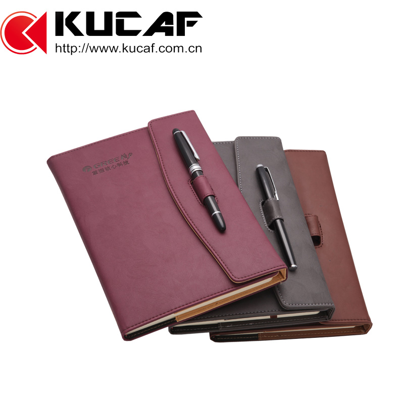 Embossed logo magnetic leather notebook and diary with pen set