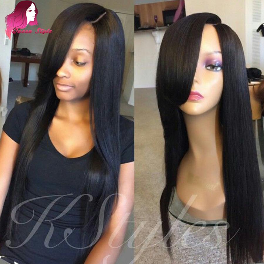 Full Lace Human Hair Wigs With Bangs 100 Human Hair Lace Front Wigs Black  Women Brazilian b2a125c05e