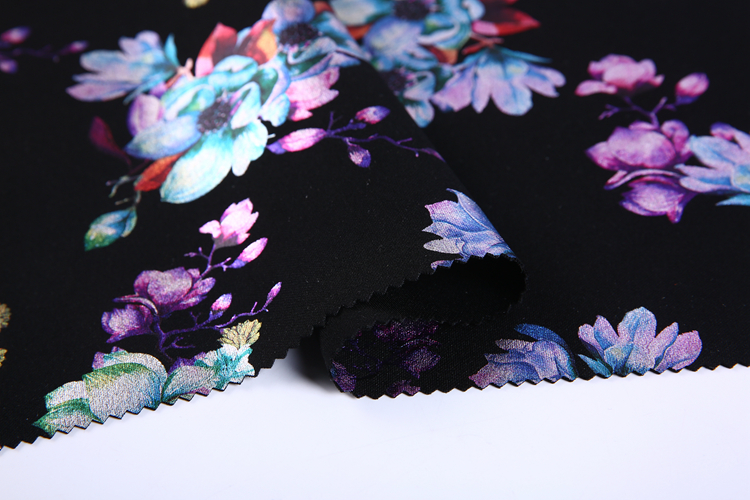 promotion polyester knit japanese foil scuba print fabric wholesale for garment