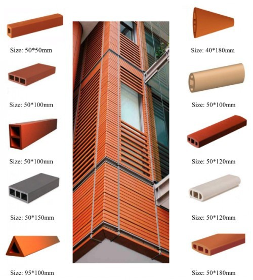 Clay Exterior Facade Curtain Wall Cladding Natural Clay