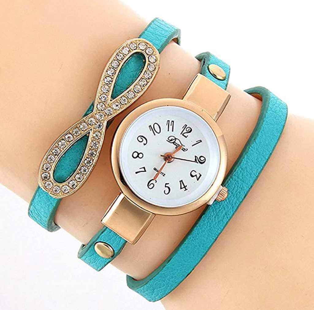 Clearance Sale! Womens Watches,ICHQ Womens Bracelet Watches on Sale Clearance 8 Pattern Lady Watches Female Watches Quartz Analog Leather Cheap Watches for Women (Sky Blue)
