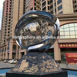 Outdoor Large Water Fountain Stainless Steel Globe Sculpture