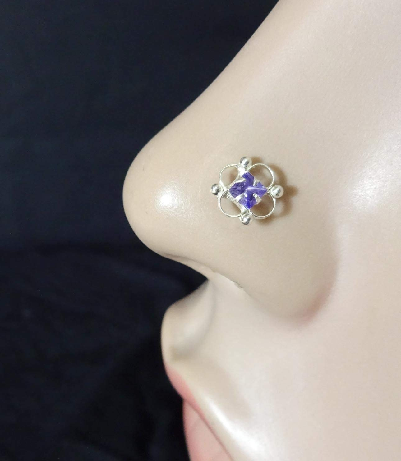 Sapphire Stone Nose Stud,Monroe Nose Ring,Tiny Gold Piercing,Wedding Nose Screw,CZ Clear Nose Stud,Crock Screw Nose Stud,Silver Diamond Piercing,Indian Nose Stud,Silver Nose Cuff(TEJ707)