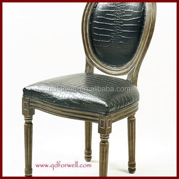 High Quality Round Back White Side Chair Louis Pu Leather Dining Color Ghost