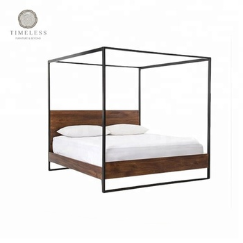 Industrial Iron And Wood Four Poster Canopy Bed - Buy Industrial ...