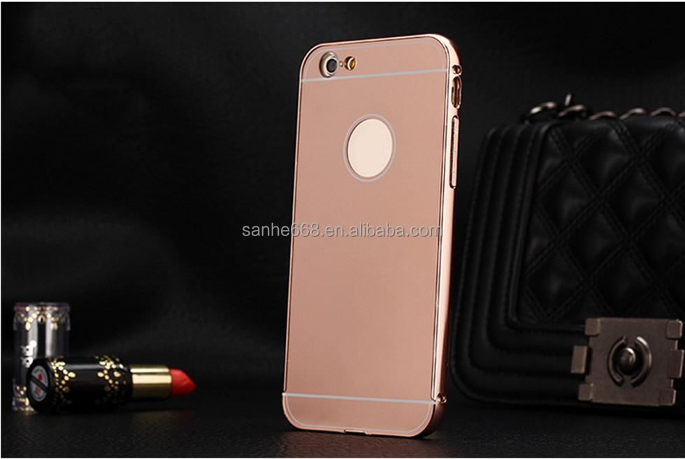 Newest phone cover for iphone mirror case ultra-thin electroplating aluminum case mirror case for wholesale